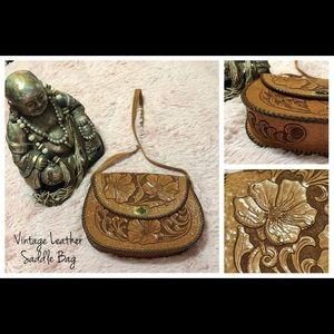 Handbags - •VINTAGE• Leather Hand-tooled Saddle Bag